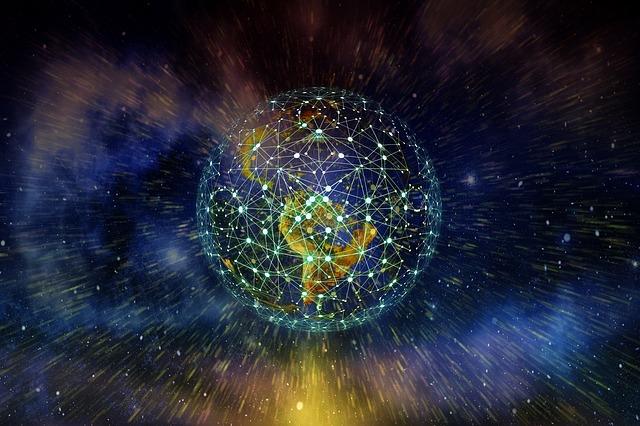 Illustration représentant les réseaux de communication digitale dans le monde