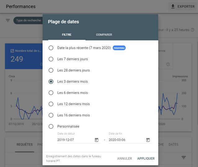 plage de selection de date de la search console de google